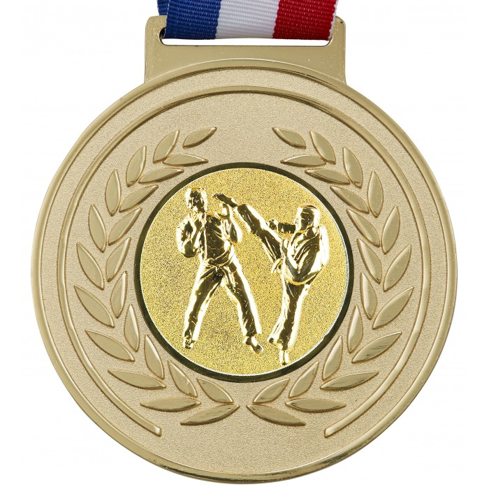 100MM MARTIAL ARTS MEDAL & RIBBON - OLYMPIC SIZED - GOLD